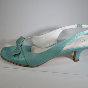 Turquoise Franco Sarto Open Toe Slingbacks